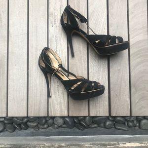 H&M | Black Real Suede Open Toe Platform Heels